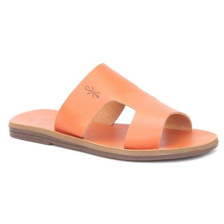 Sandália Rasteira Feminina em Couro Wuell Casual Shoes – Capão - MIZ 1218 – laranja full