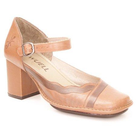 Sapato de salto médio Feminino em couro Wuell Casual Shoes - Castelo - JRA 9201 - marrom