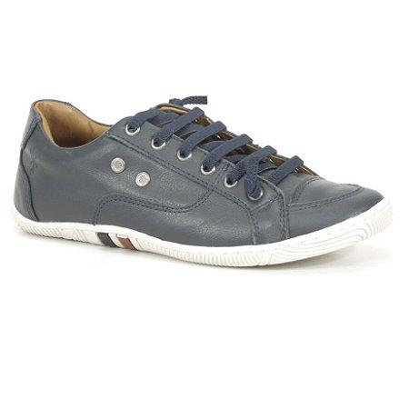 Sapatênis Feminino de couro Wuell Casual Shoes - Pati - RO 12135 - azul marinho