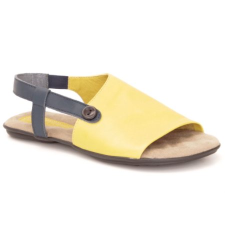 Sandália Rasteira Feminina em couro Wuell Casual Shoes - Andaraí - VN 335232 - amarelo e azul