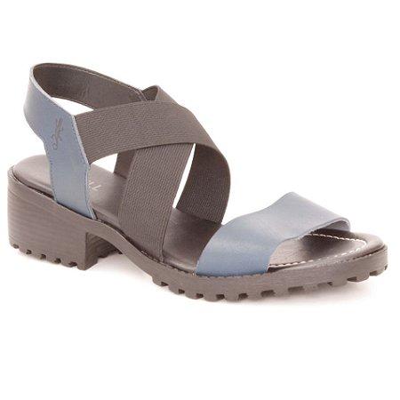 Sandália Feminina de salto médio em couro Wuell Casual Shoes - Andaraí - VN 140407 - azul marinho e preto