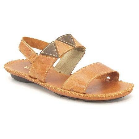 Sandália Rasteira Feminina em couro Wuell Casual Shoes - Funis - MB 3970 - laranja