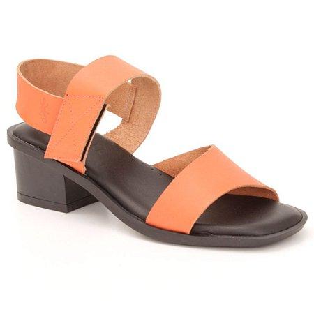 Sandália Feminina salto médio em couro Wuell Casual Shoes - Mucugê - LEB 10735 - laranja