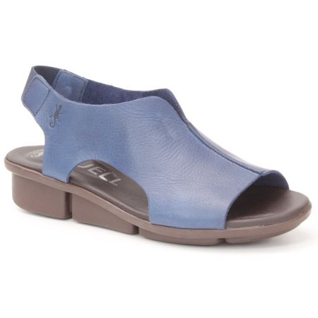 Sandália anabela Feminina em Couro Wuell Casual Shoes - Pati - RO 08711 - azul