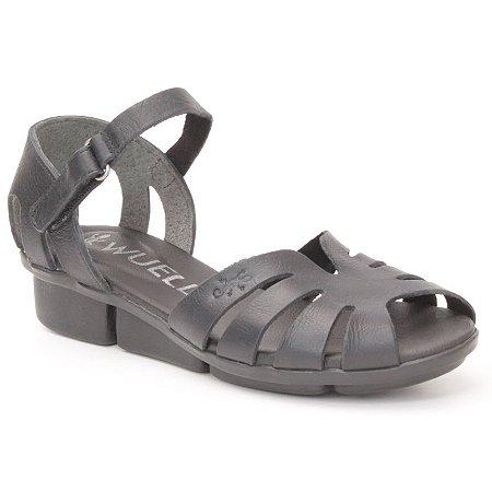 Sandália anabela Feminina em Couro Wuell Casual Shoes - Pati - RO 05311 - preto