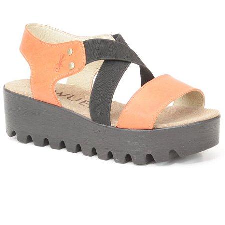 Sandália plataforma Feminina em Couro Wuell Casual Shoes - Iguatu - BS 07920 - Laranja