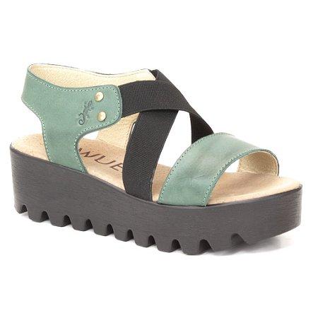 Sandália plataforma Feminina em Couro Wuell Casual Shoes - Iguatu - BS 07920 - verde