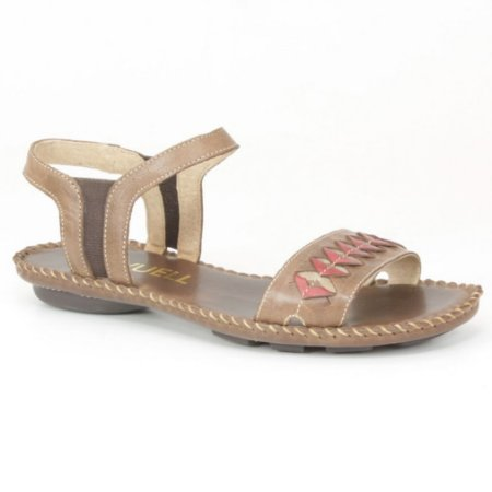 Sandália Rasteira Feminina em couro Wuell Casual Shoes - MB 3270 - marrom
