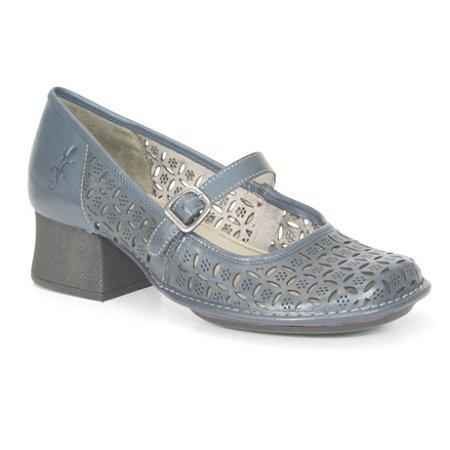 Sapato Feminino em couro com salto médio Wuell Casual Shoes - Castelo - JKC 4200 - azul