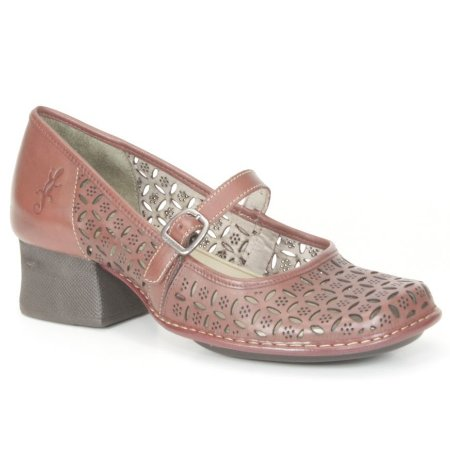 Sapato Feminino em couro com salto médio Wuell Casual Shoes - Castelo - JKC 4200 - vermelho