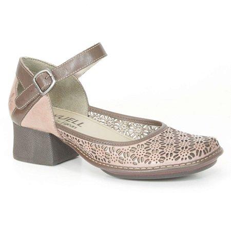 Sapato feminino de salto médio em couro Wuell Casual Shoes - Castelo - JKC 3900 - salmão e marrom