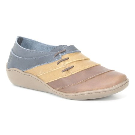 Sapato Feminino em Couro Natural Wuell Casual Shoes - Pati - RO 79610 - marrom, azul e amarelo