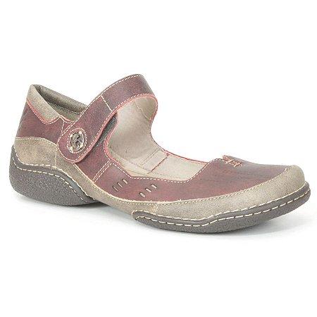 Sapato Feminino em couro Wuell Casual Shoes - Castelo - JLC 4300 - bordô e marrom