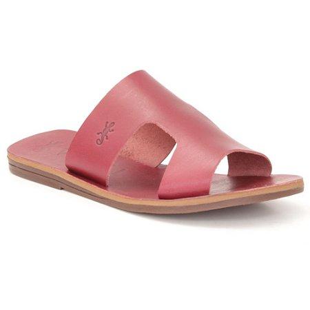 Sandália Rasteira Feminina em Couro Wuell Casual Shoes – MIZ 1218 – bordô