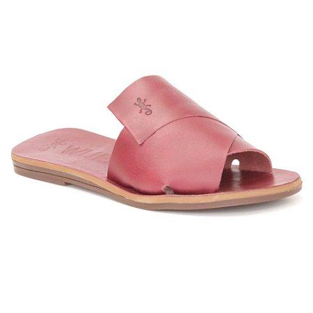 Sandália Rasteira Feminina em Couro Wuell Casual Shoes – MIZ 9917 – bordô