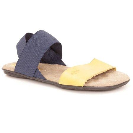 Sandália Rasteira Feminina em couro Wuell Casual Shoes - VN 211232 - amarelo e azul marinho