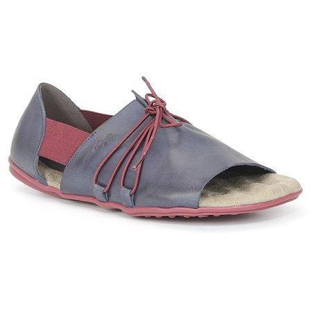 Sandália Rasteira Feminina em couro Wuell Casual Shoes - VN 321232 - marinho e bordô