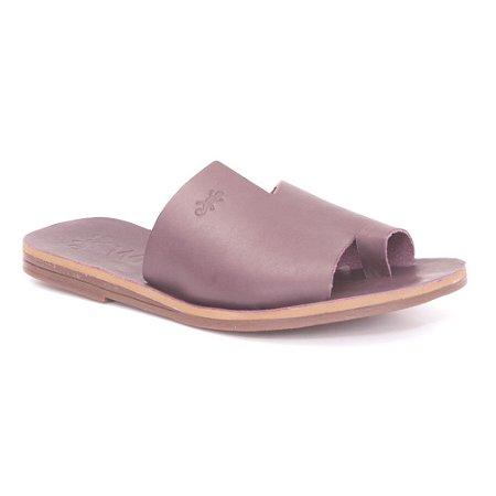 Sandália Rasteira Feminina em Couro Wuell Casual Shoes – MIZ 9317 – roxa