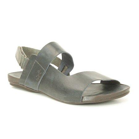 Sandália Rasteira Feminina em Couro Wuell Casual Shoes - VC 95510 - azul marinho e carbono