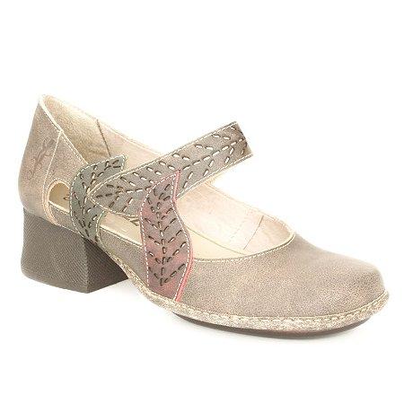 Sapato de salto médio Feminino em couro Wuell Casual Shoes - JKC 1201 - marrom e bordô