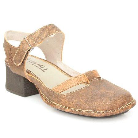 Sapato de salto médio Feminino em couro Wuell Casual Shoes - JKC 1601 - laranja