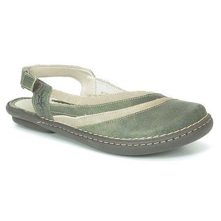 Sapato Feminino em couro Wuell Casual Shoes - JMA 2902 - verde e marfim