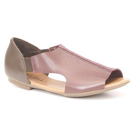 Sandália Feminina em couro Wuell Casual Shoes - AB 510 - bordô e marrom