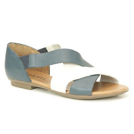 Sandália Feminina em couro Wuell Casual Shoes - AB 240 - marinho e branco