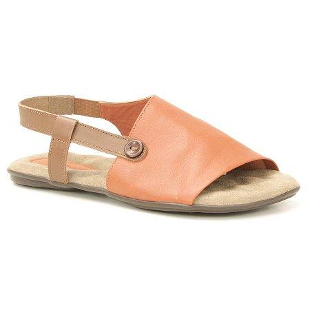 Sandália Rasteira Feminina em couro Wuell Casual Shoes - VN 335232 - laranja e marrom