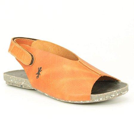 Sandália Rasteira Feminina em Couro Natural Wuell Casual Shoes - VC 60810 – laranja