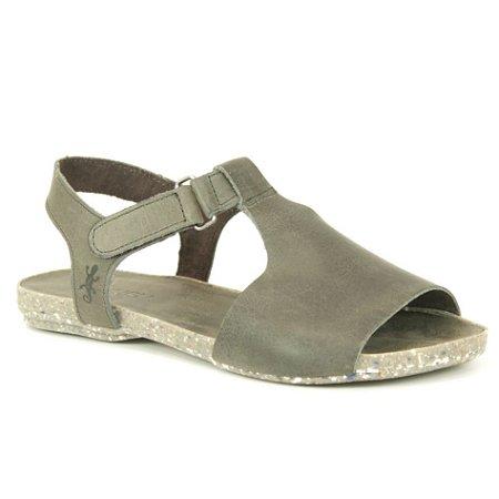 Sandália Rasteira Feminina em Couro Natural Wuell Casual Shoes - VC 60110 – cinza grafite