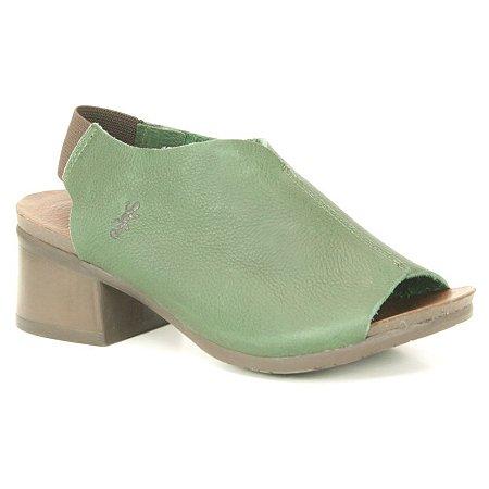 Sandália de salto médio Feminina em Couro Natural Wuell Casual Shoes - VC 06150 – verde