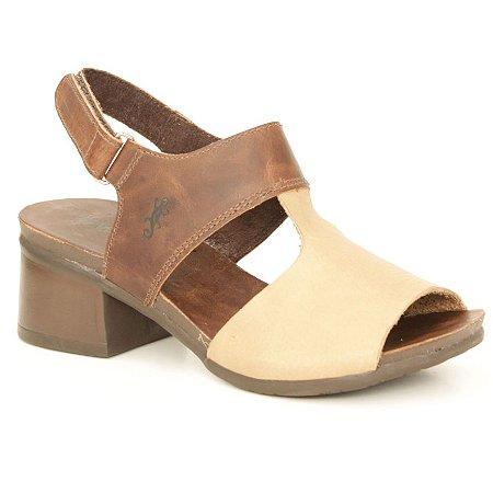 Sandália de salto médio Feminina em Couro Wuell Casual Shoes - VC 00350 – marrrom e areia