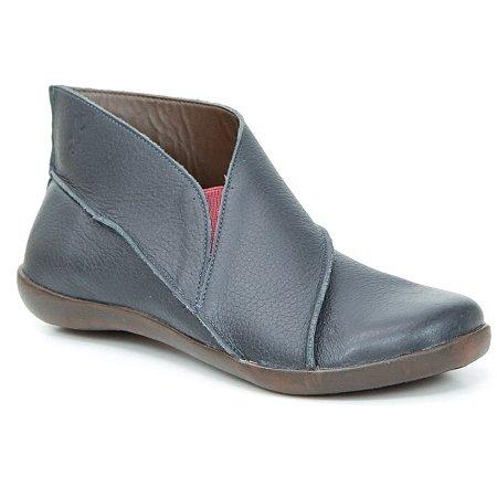 Bota Feminina em Couro Natural Wuell Casual Shoes – MIZ 3319  –  azul marinho