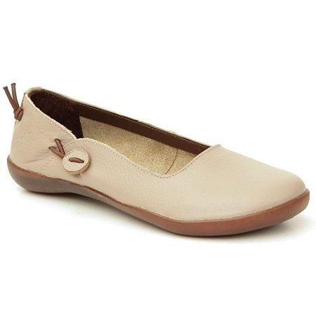 Sapatilha feminina em Couro Natural Wuell Casual Shoes – MIZ 7716  –  areia