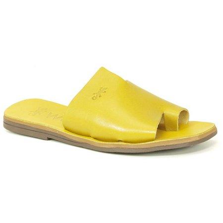 Sandália Rasteira Feminina em Couro Wuell Casual Shoes – MIZ 9317 – amarela