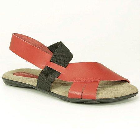 Sandália Feminina em couro Wuell Casual Shoes - VN 349232 – vermelha e preta