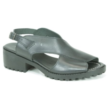 Sandália Feminina de salto médio em couro Wuell Casual Shoes - VN 127407 - preta