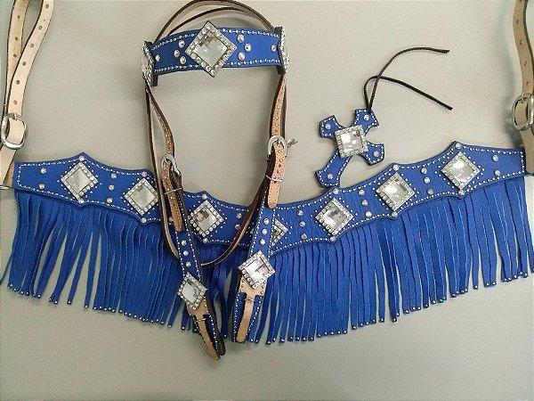 Conjunto Peiteira e Cabeçada com detalhes azuis e Strass