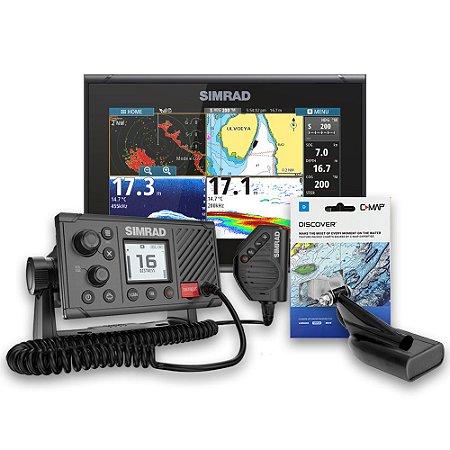 GPS Sonar Simrad GO9 c/ Carta e Rádio VHF Simrad RS20