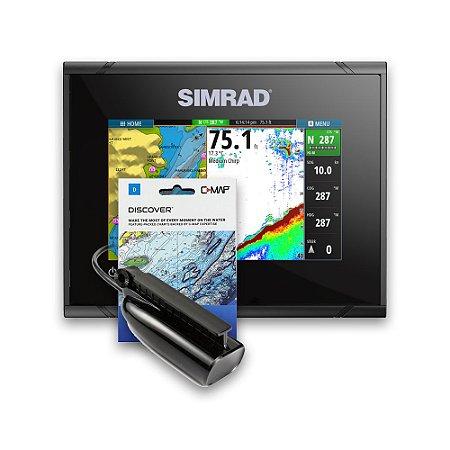 GPS Sonar Simrad GO5 c/ Transdutor e Carta Náutica