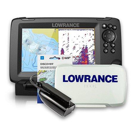 GPS Sonar Lowrance Hook Reveal 7 ROW c/ Capa e Carta Náutica