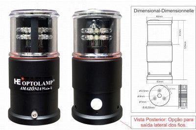 Luz Tricolor Fundeio Estrobo LED 5em 1 Optolamp AMAZÔNIA Mirim 4 Plus
