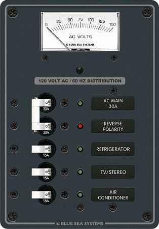 Painel de Distribuição c Voltímetro AC + 3 Pos Blue Sea 8043
