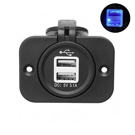 Tomada USB c/ Moldura Marinizada Dupla 12/24V 3.1A SeaTech