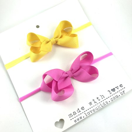 Kit faixas de Gorgurão M rosa e amarelo