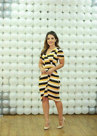 Vestido Perola amarelo em Malha premium - Moda Feminina Moda Evangélica