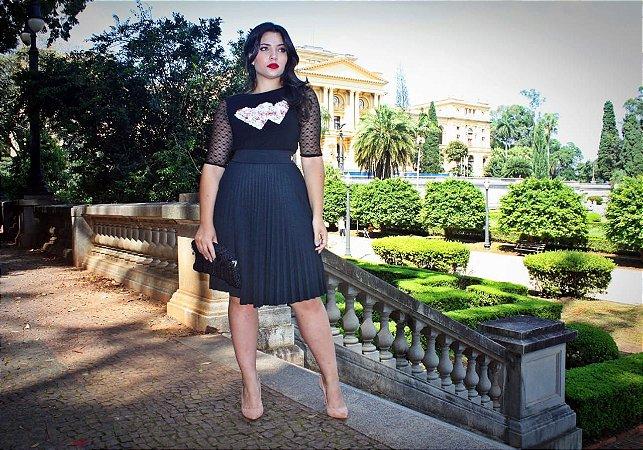 a70041dc2c4 Saia Plissada Teresa Preta - Moda Enncante