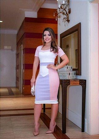 Vestido Valentina Bandagem Lavanda - Moda Feminina Evangelica