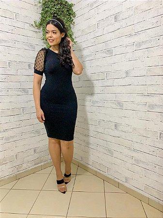 Vestido Talita  Malha Canelada Preta com Manga Curta de Tule - Karina Rampaso